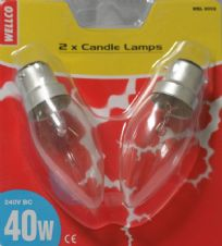 40w BC Clear Candle Lamp Pack of 2 240v